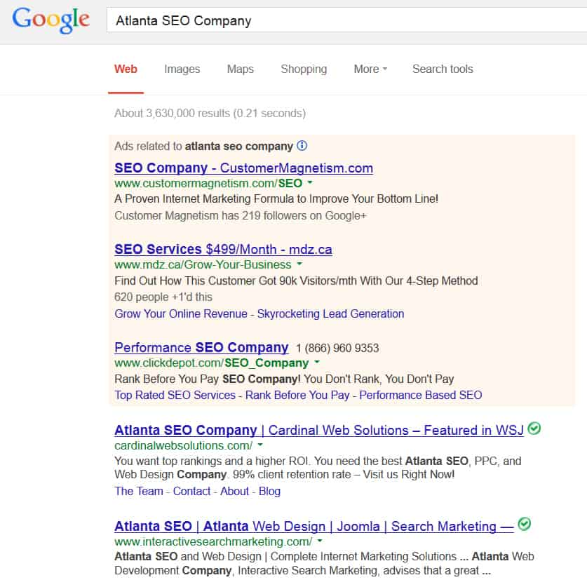 atlanta seo company google search